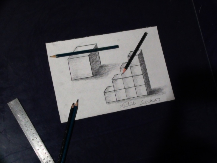 Amazing 3D Drawing Pencil Easy Step By Step Simple How To Draw - 3D Cube Step By Step - Pencil Shading - Welcome To Image