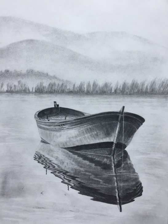 Amazing Boat Pencil Sketch for Beginners $100 Row Boat Sketch. Original Art, Graphite Pencil Drawing By Elena Images