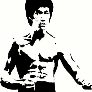 "Amazing Bruce Lee Stencil Easy Bruce Lee Universal Vinyl Cut Out Decal, Sticker In Blk - 11"" By 13 Pics"