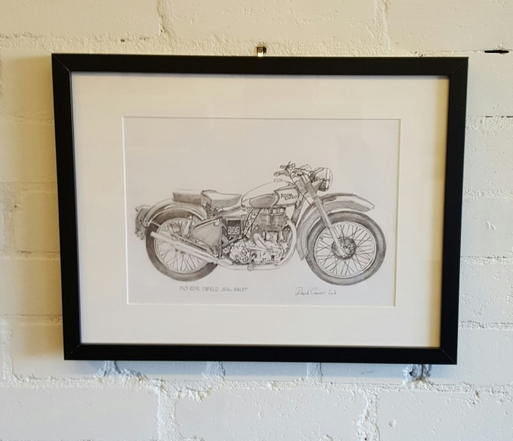 Amazing Bullet Pencil Drawing Easy 1949 Royal Enfield 35Cc Bullet. By David Connor. An Original Framed Images