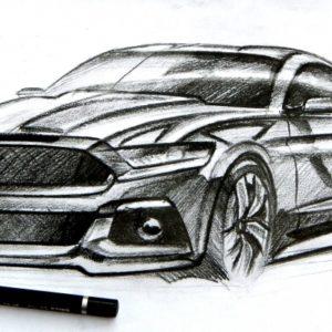 Amazing Car Pencil Drawing Tutorials Ford Mustang Pencil Sketch | Sketches | Car Design Sketch, Car Image