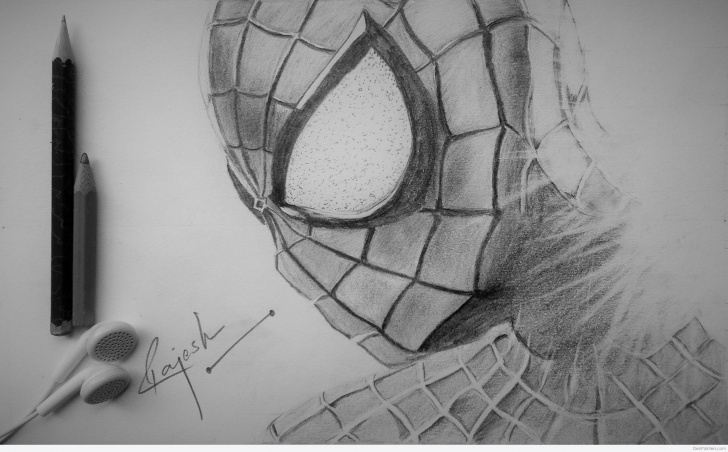 Amazing Cool Pencil Sketches Lessons Awesome Pencil Sketch Of Spider Man | Desipainters Image