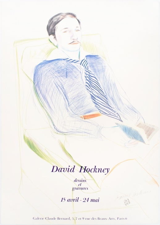 Amazing David Hockney Pencil Drawings for Beginners Galerie Claude Bernard (Jacques De Bascher Debeaumarchais) Signed Vintage  Poster Images