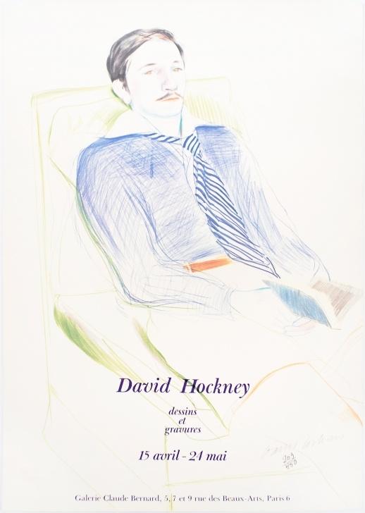 Amazing David Hockney Pencil Drawings for Beginners Galerie Claude Bernard (Jacques De Bascher Debeaumarchais) Signed Vintage  Poster Images