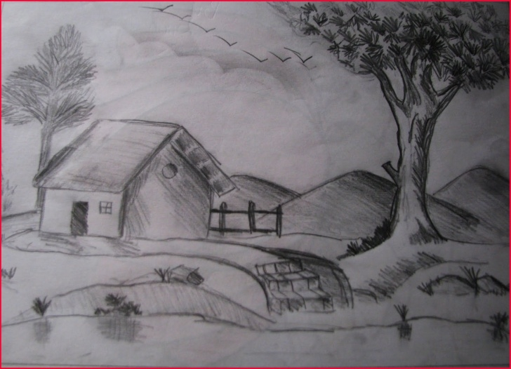 Amazing Easy Landscape Pencil Shading Easy Shading Landscape Drawing At Paintingvalley | Explore Collection Pics