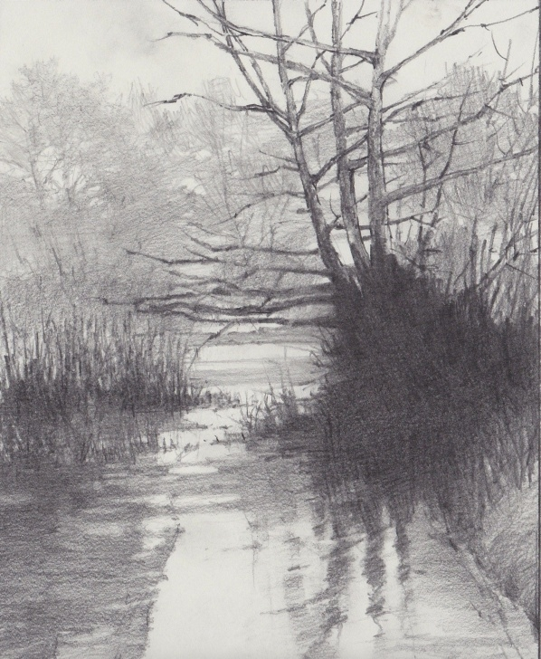 Amazing Graphite Landscape Drawings for Beginners Riverside Sunset Sketch, Graphite - Michael Bailey | Pencil Art Image
