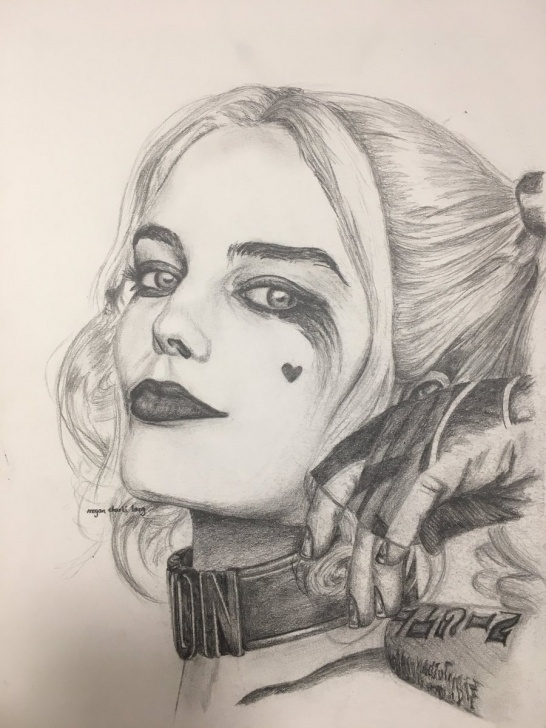 "Amazing Harley Quinn Pencil Drawing Ideas Megan Charli Art On Twitter: ""hand Drawn Portrait Of Harley Quinn Pictures"