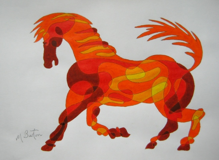 Amazing Horse Drawing Colour Techniques for Beginners Colour Sequence On Continuous Line Drawing | Mick Burton Images