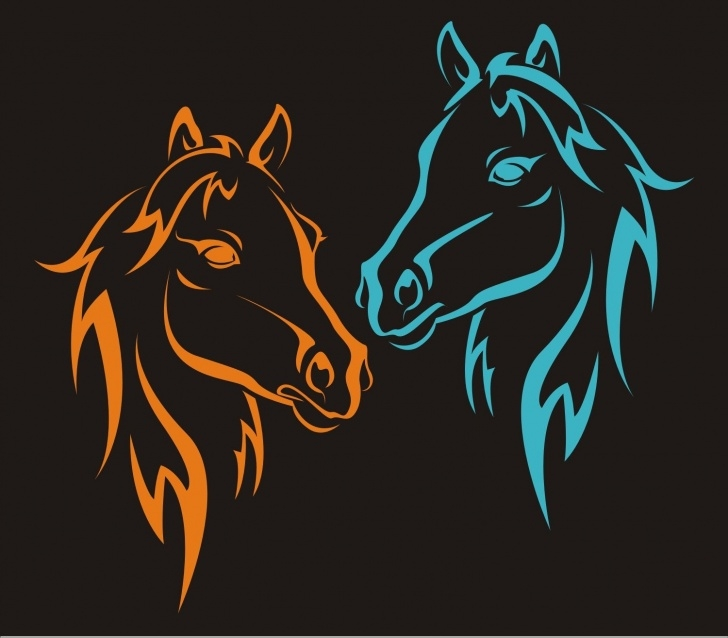 Amazing Horse Wall Stencils For Painting Ideas Wild Horses Reusable Stencil / Horses Heads 02 4 Sizes Get Pics