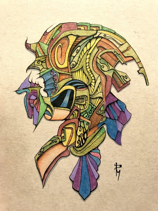 """Amazing Ink And Colored Pencil Lessons Waves Of My Brain Encaged. Ink And Colored Pencil. 6""""X8"""" : Art Photo"""
