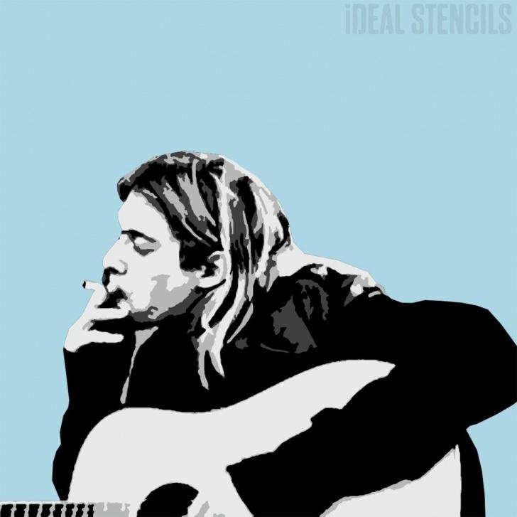 Amazing Kurt Cobain Stencil Art Easy Kurt Cobain Multilayer Stencil Pic