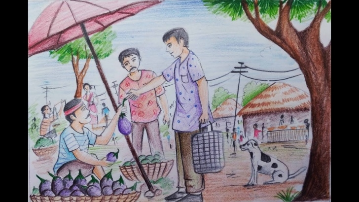 Amazing Market Pencil Drawing Tutorials How To Draw Village Market With Colour Pencil Picture