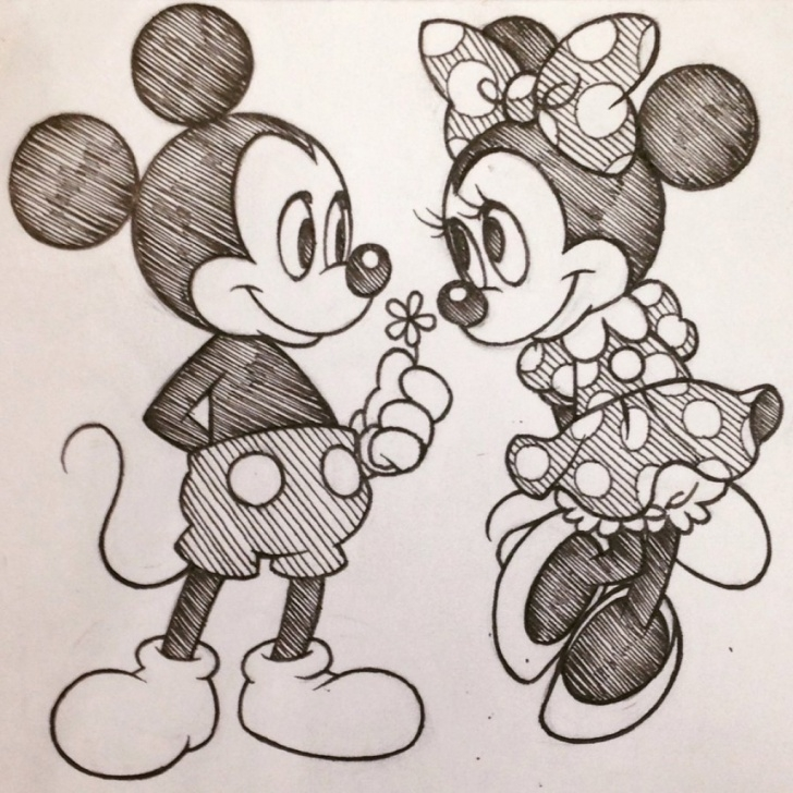 Amazing Minnie Mouse Pencil Drawing Lessons Mickey And Minnie Mouse Sketch At Paintingvalley | Explore Image