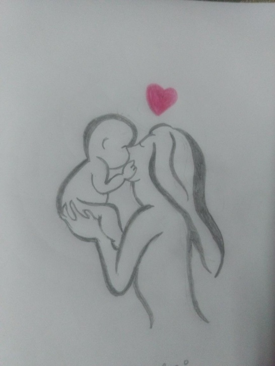 Amazing Mom And Baby Pencil Sketch Free Pinterest Image