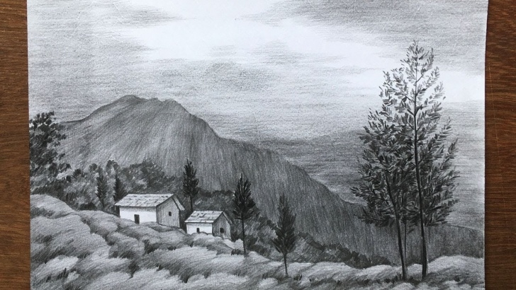 Amazing Mountain Scenery Sketch Lessons Mountain Scenery Drawing In Pencil | Easy Pencil Sketch For Beginners |  Draw And Shade A Scenery Pictures