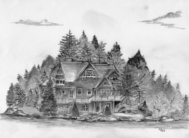 Amazing Normal Pencil Sketch Easy Cottage On A Lake, Pencil Sketch On Normal Sketchpad Paper Pic
