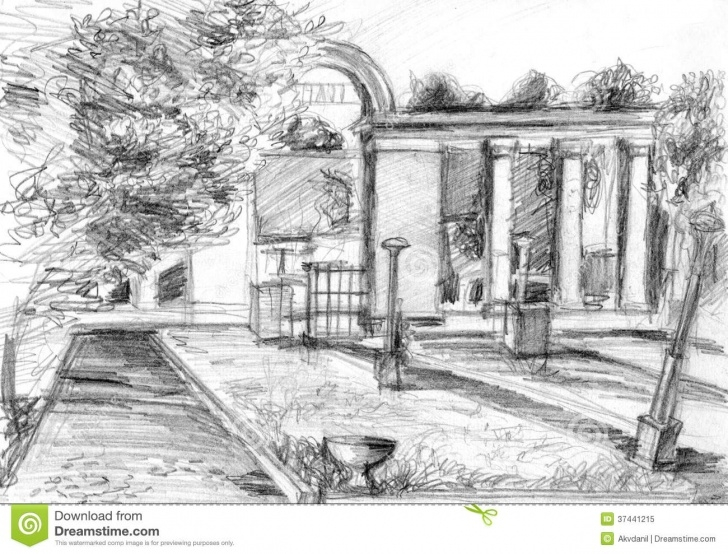 Amazing Park Pencil Drawing Lessons Entrance To The Park Stock Illustration. Illustration Of Line - 37441215 Picture