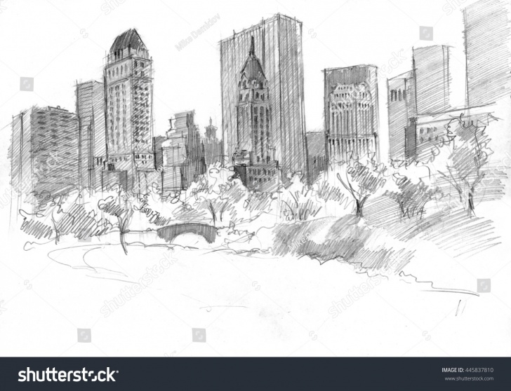 Amazing Park Pencil Drawing Step by Step Pencil Drawing Central Park Nyc Usa Stock Illustration 445837810 Photo