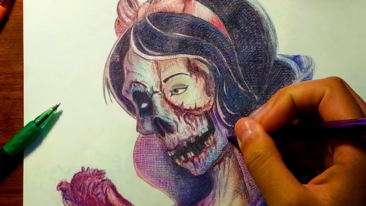 Amazing Pen And Colored Pencil Drawings Lessons Drawing Zombie Snow White With Ballpoint Pen & Color Pencils Photos