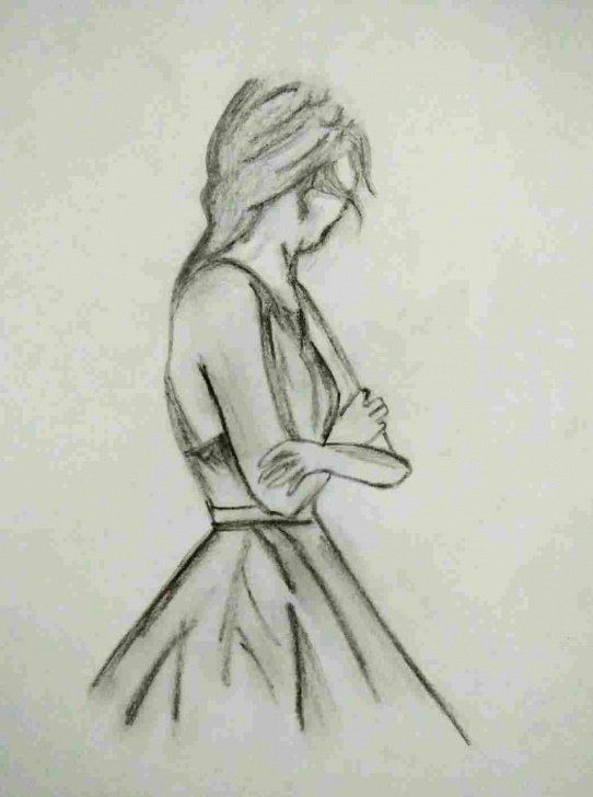 Amazing Pencil Art Girl Simple Indian-Drawings-Of-Women-Pencil-Art-Girl-Drawing-In-Pinterest Image