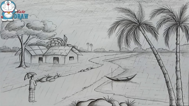 Amazing Pencil Art Scenery Courses How To Draw Scenery Of Rainy Season By Pencil Sketch Step By Step Photo