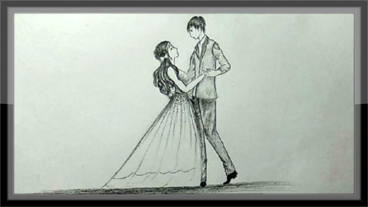 Amazing Pencil Couple Sketch Techniques Pencil Drawing Romantic Valentine Couple Dancing Images
