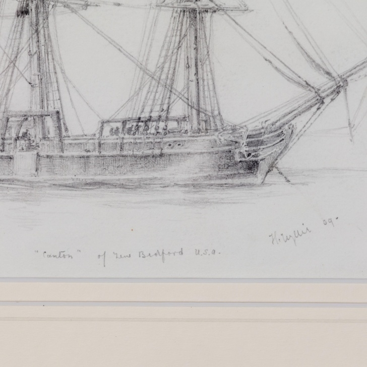 "Amazing Pencil Drawing Ship Lessons Pencil Drawing Of ""Canton"" A Three Masted Whaling Ship By Harold Wylie Images"