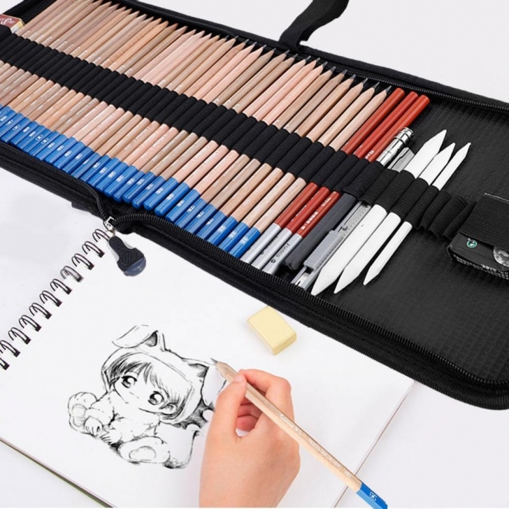 Amazing Pencil Eraser Drawing Free 48 Pcs/kit Sketch Pencil+Charcoal Pencil+Eraser Drawing Art Set Student  Gifts 818692765578 | Ebay Images