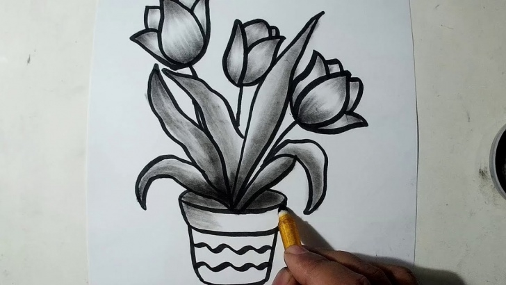 Amazing Pencil Sketch Of Flower Pot Tutorial How To Draw A Flower Pot || Charcoal Drawing And Shading Pics