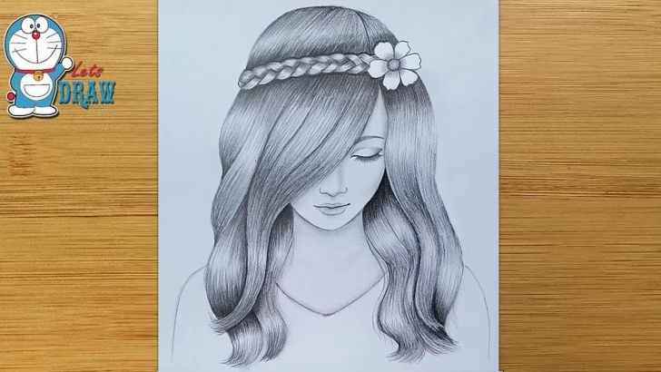 Amazing Pencil Sketch Of Girl for Beginners A Girl With Beautiful Hair Pencil Sketch Drawing / How To Draw A Girl Photos