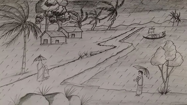 Amazing Pencil Sketch Of Rainy Season Courses How To Draw A Beautiful Rainy Season Scenery By Pencil Sketch Photo
