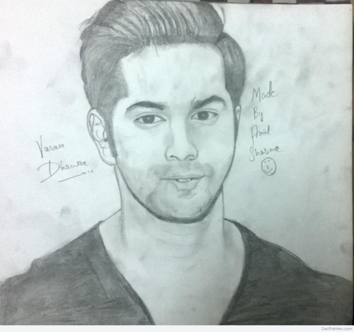Amazing Pencil Sketch Of Techniques Pencil Sketch Of Varun Dhawan | Desipainters Pic