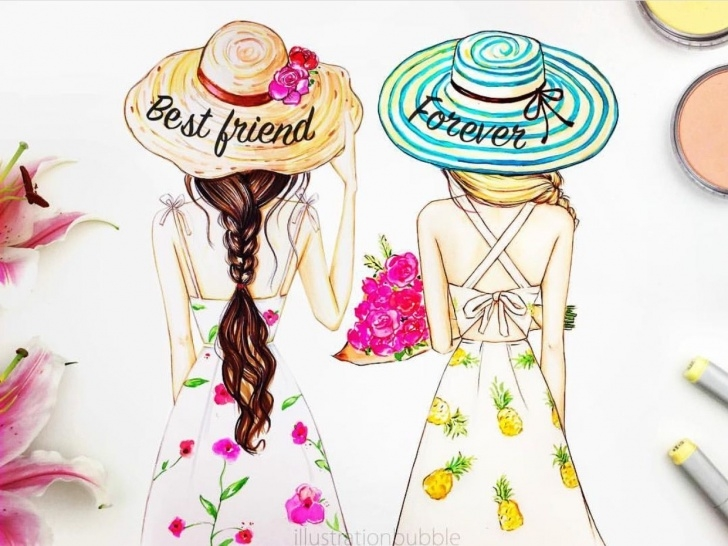 Amazing Pencil Sketches Of Friends Forever Ideas I Love Pretty Dresses | Best Freinds Drawings In 2019 | Bff Drawings Pictures
