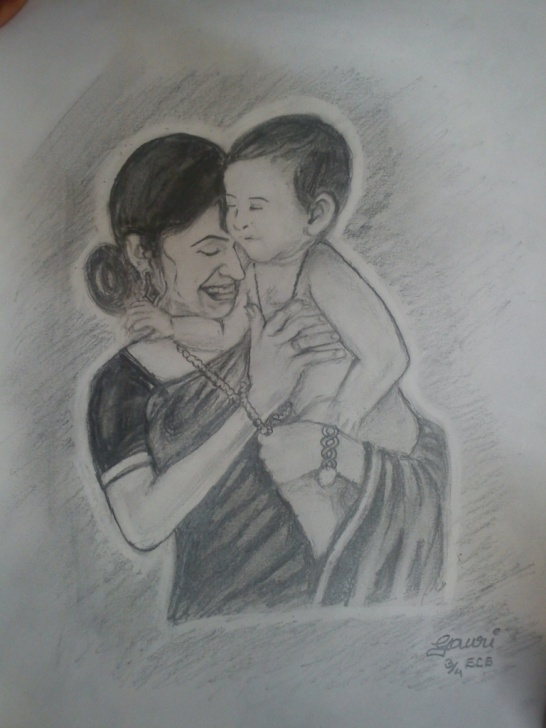 Amazing Pencil Sketches Of Mother And Daughter Tutorial Mother And Daughter Sketch At Paintingvalley | Explore Image