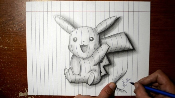 Amazing Pikachu Pencil Drawing Simple How To Draw Pikachu - Line Paper 3D Trick Art Images