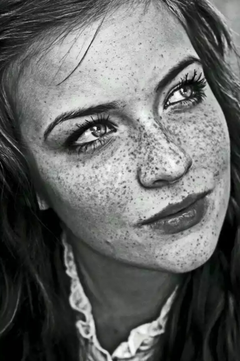 Amazing Realistic Pencil Drawings Easy Girl With Freckles | Drawings | Realistic Pencil Drawings, Realistic Image