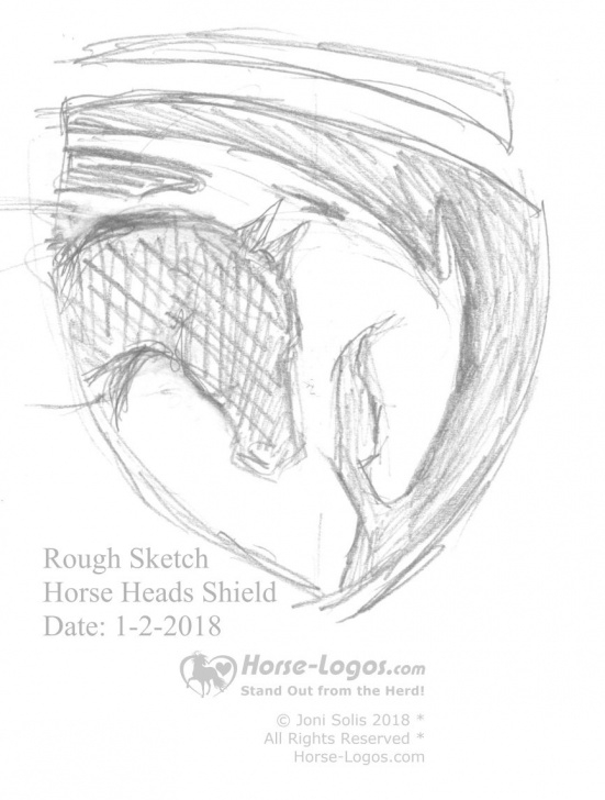 Amazing Rough Pencil Sketches Lessons Rough #pencil #sketch Of Two #horse Heads In A Shield Shape. I Will Pics