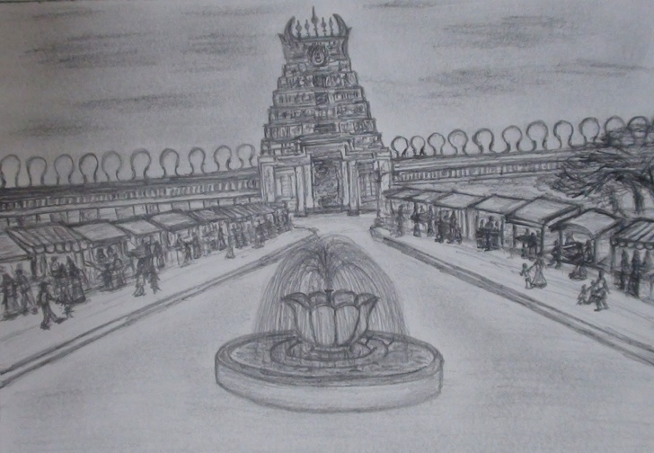 Amazing Temple Pencil Drawing Tutorials Graphictouch: Temple Pencil Sketch Pic
