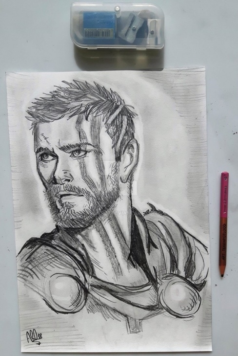 Amazing Thor Pencil Drawing Free Thor As Seen In Ragnarok Pencil Drawing By Ammer23 On Deviantart Pic
