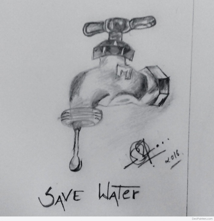 Amazing Water Pencil Sketch for Beginners Save Water Pencil Sketch | Desipainters Picture