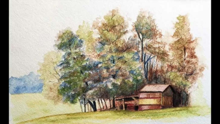 Amazing Watercolor Pencil Landscape Techniques Landscape With Watercolor Pencils - Excerpts Pic