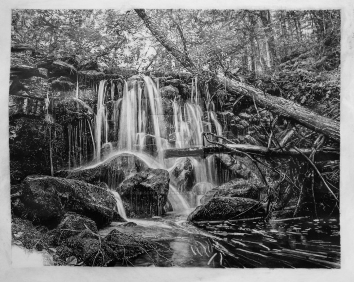 Amazing Waterfall Pencil Sketch Simple Pencil Drawing Of Waterfalls. By Robb Scott By Robb-Scott-Drawings Images