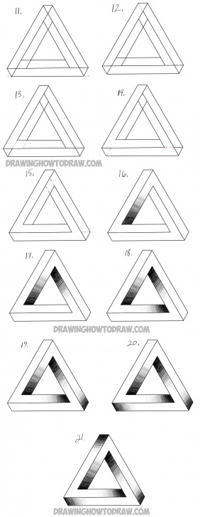 Awesome 3D Drawing Pencil Easy Step By Step Simple How To Draw An Impossible Triangle - Easy Step By Step Drawing Photo