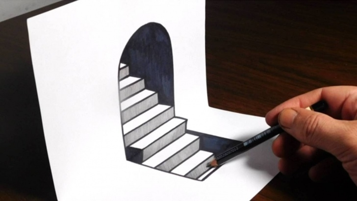 Awesome 3D Drawing Pencil Easy Step By Step Tutorials How To Draw 3D Steps - Easy Trick Art Picture