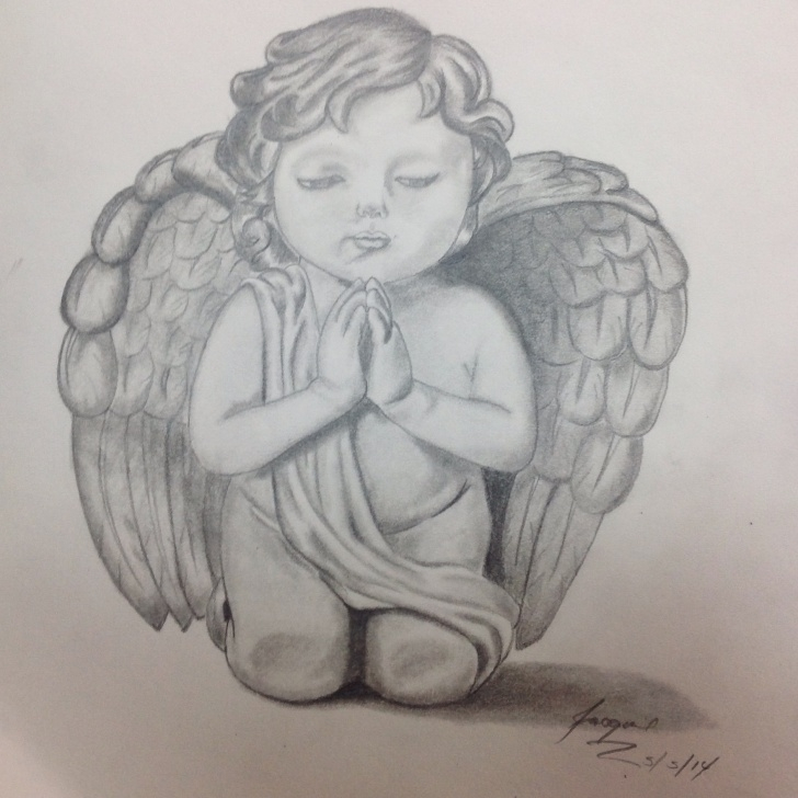 Awesome Beautiful Pencil Sketches Of Angels Lessons Baby Angel Drawing, Pencil, Sketch, Colorful, Realistic Art Images Images