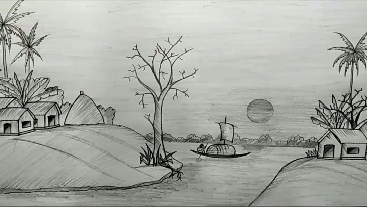 Awesome Beautiful Scenery Pencil Sketch Easy Sketch Of Village Scenery At Paintingvalley | Explore Collection Pics