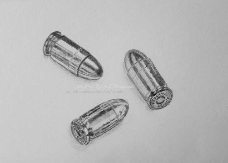 Awesome Bullet Pencil Drawing Simple Bullet Drawing, Pencil, Sketch, Colorful, Realistic Art Images Photos