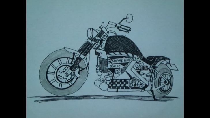 Awesome Bullet Pencil Drawing Tutorial Royal Enfield Pencil Sketch And Royal Enfield Bullet Cc Customised Picture