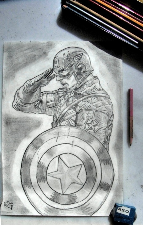 Awesome Captain America Pencil Sketch Lessons Captain America Salutes (Pencil Drawing) By Ammer23 On Deviantart Images