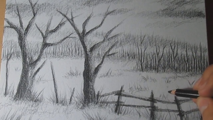 Awesome Charcoal Landscape Sketches Easy How To Draw A Landscape With Charcoal Pencil Step By Step - Easy Photo
